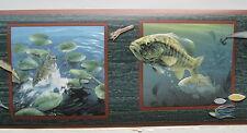 """BASS FISHING SMALLMOUTH LARGEMOUTH Wallpaper Border 6 7/8"""""""