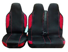 FORD TRANSIT MINIBUS VAN SEAT COVERS BLACK+RED (FABRIC) 2+1 SINGLE & DOUBLE