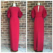 Marchesa Notte sz 8 Stunning Red Ruffled Sleeves Long Full Silk Gown Dress
