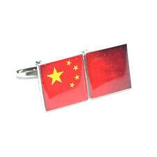 Chinese Flag Distressed Split Flag Halves CUFFLINKS China Mens Present GIFT BOX