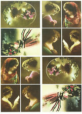 A/4 Classic Decoupage Paper Scrapbook Sheet Vintage Woman in Color