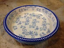 Temptations Floral Lace 9 Inch Round Baking Dish Light Blue New W/ Lid