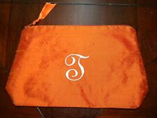 Objects of Desire Cosmetic Makeup Bag J Monogram Initial Dupioni Silk Orange