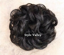 Brown Black Elastic Hairpiece Curly Scrunchie Hair Piece for Bun or Ponytail
