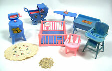 Vintage 1946 RENWAL Dollhouse Furniture - Playpen, Baby Basinette, Potty Chair