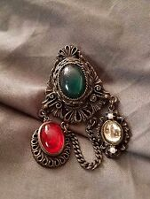 Decorative Old World Style Brooch w/ Colored Accent Beads