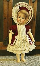 """VICTORIAN STYLE CROCHETED DRESS SET FOR 11"""" BLEUETTE/BISQUE DOLL*by Tina"""
