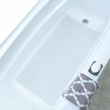Extra Long Rubber Bath Safety Mat: White In-Tub Suction Cup Mat