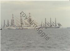 Colour print of the Polish Dar Mlodziezy and Russian Kruzenshtern off the Tyne