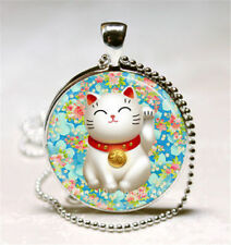 Glass Cabochon Beckoning JAPANESE LUCKY CAT MANEKI NEKO  Pendant Necklace