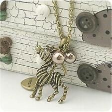Fashion Pearl Antique Bronze Color Plated Zebra Long Chain Sweater Necklace