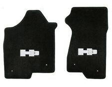 NEW! BLACK FRONT FLOOR 2006-2008  HUMMER H3 Embroidered Logo in Silver Pair