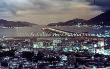 HK143 Single 35mm Slide 1962 Night View of Kai Tak Airport,  Hong Kong China