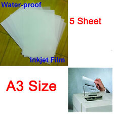 Waterproof Inkjet Printer Transparency Film Paper Screen Printing A3 5Pcs