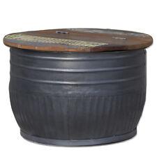 Beistelltisch Couchtisch Tisch STORAGE rund Metall Holz Ø 70 cm metall grau NEU