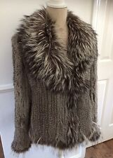 Yves Salomon Grey Rabbit And Fox Fur Jacket. Size 14