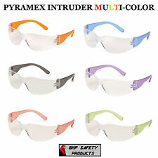 12 PAIR PACK PYRAMEX INTRUDER SAFETY GLASS CLEAR LENS MULTI COLOR  S4110SMP