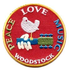 WOODSTOCK FESTIVAL peace love music EMBROIDERED IRON-ON PATCH dove guitar p3232