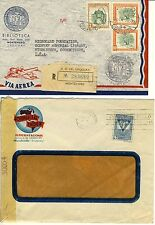2 Covers from Uruguay. 1 Censored, Other Registered