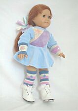 """Doll Clothes Fit AG 18"""" Blue Ice Skating Dress Bag Made For American Girl Dolls"""