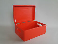 Wooden Red Wood Box Lid  Handel Craft Decoupage Document Boxes Storage Souvenirs