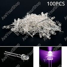 100Pcs 3mm Purple UV Color Water Clear LED Light Round Top Emitting Diode F3