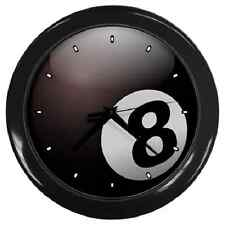 BLACK 8 BALL BILLIARDS POOL WALL CLOCK **SUPERB ITEM**