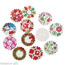 100PCs Mixed Wood Sewing Buttons Christmas Pattern Scrapbooking 24mm