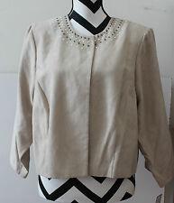 Jessica Howard Tan Mole Skin Studded Jacket Blazer Sz 16W Nwt Cb6-11