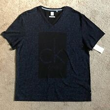 CALVIN KLEIN Mens Black CK One V-Neck Tee Shirt 40X8025 (XLarge) NWT $39.50