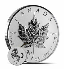 Canadian Maple Leaf 2014 Horse Privy 1 oz .9999 Silver Coin - Reverse Proof