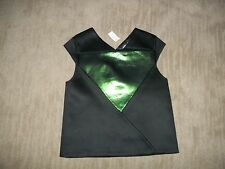 KATE SPADE Saturday Black Neoprene DIAMOND Hip TOP Shirt womens Size XS $80 NEW