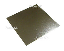 """100 x 8"""" Inch Square Silver Cake Board 3mm DOUBLE THICK"""
