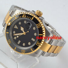 40mm Parnis black Sterile Dial Ceramic Bezel gold Automatic Mens Date watch