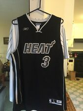 All Black Authentic Reebok Dwayne Wade Miami Heat Jersey Men's Large Really Nice