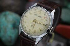 Vintage ENICAR 17 Jewel Triple Date Calendar 32mm Men's Complicated Dress Watch