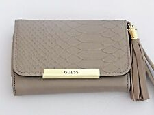 Guess Women's Slate Snake Trifold Leather Wallet Cell Phone Wristlet NWT SALE
