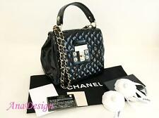 AUTHENTIC CHANEL MADEMOISELLE KELLY BLACK PATENT QUILTED FLAP BAG TOTE GHW RARE!
