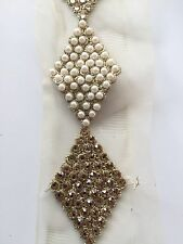 ATTRACTIVE INDIAN PEARLS & CRYSTALS DIAMONDS LACE/TRIM ON NET -Sold By Yard