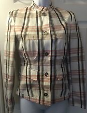 BURBERRY Plaid Fitted Jacket Coat Pink White Brown Nova Check Sz 2 (38) Italy