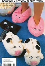 Knitting Crochet PATTERNS Adult Childrens Slippers Animals Pig Mouse Bear