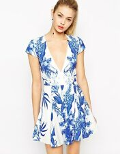 Stylestalker Blue Me Away Print Skater Dress With Plunge Neckline size XS -UK 6