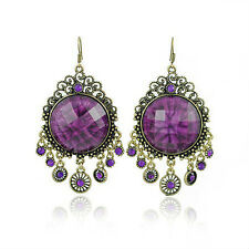Vintage Jewelry / Jewellery Rhinestone Purple Long Drop Dangle Earrings E92