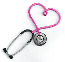 IRON ON PATCH/APPLIQUE Embroidered Fuchsia Stethoscope - CRAFT PROJECTS