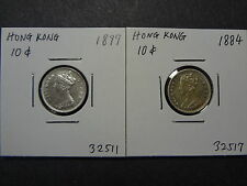 HONG KONG 1884 SCARCE DATE + 1897 QV  TEN / 10 CENTS, 84 SELECT UNC, 97 CH UNC!