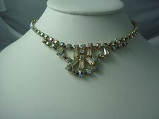 "HOMECOMING VINTAGE AB RHINESTONE CHATON DROP 14"" GOLD CHOKER NECKLACE"