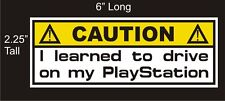 Caution Playstation Joke Gamer car decal great stocking stuffer bumper sticker