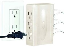 2 Pack Multi Plug Outlets Side Low Profile Wall Hugging Sidways Sockets Adapter