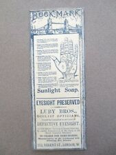 Antique BOOKMARK Advertising Sunlight Soap Luby Bros Beethams Glycerine 1900s