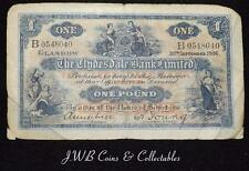 1936 The Clydesdale Bank Limited £1 One Pound Note B 0548040